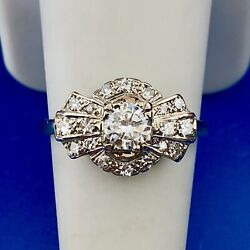 Art Deco 14k White Gold Diamond Solitaire With Accents Wedding Engagement Ring