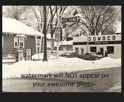 Vintage Sunoco Gas Station Photo Pumps Gasoline 22 Cents Brown Brothers