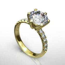Diamond Ring Round 14 Kt Yellow Gold Ladies Certified 1.75 Ct Size 4.5 5 6 7 8