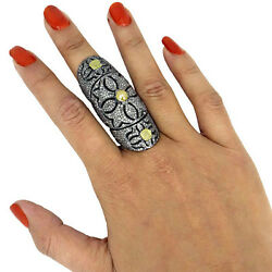 Slice/color 3.37ct Diamond Pave 925 Silver Armour Knuckle Ring 14 K Gold Jewelry