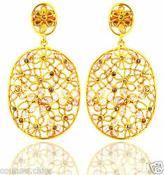 Solid 14 K Yellow Gold Pave 4.47 Ct Natural Diamond Dangle Earrings Fine Jewelry