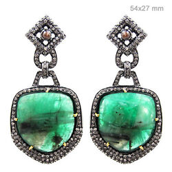 Vintage Style Emerald 925 Silver Pave 3ct Diamond Long Earrings 14k Gold Jewelry