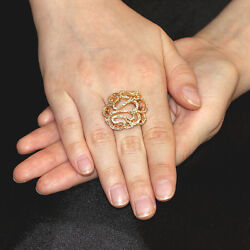 Designer Solid 18k Yellow Gold Wedding Ring Pave Diamond Victorian Style Jewelry