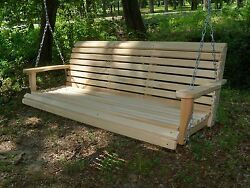 6ft Reg Cypress Wood Wooden Porch Bench Swing With Hanging Hardware Made In Usa