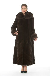 Sable Fur Coat with Sheared Mink Brown - Directional Designs - Soft Splendor
