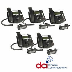 Refurbished 5 Pack Of Polycom Soundpoint Ip 450 Telephones W/power Free Ship