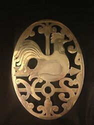 E.p. Zinc Made In Italy Rooster Pot Stand Four Leg Wall Art Rare Unusual