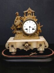Antique French Gilt Brass And Onyx Table Clock Art Deco Brevet 2459