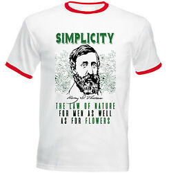 HENRY DAVID THOREAU SIMPLICITY QUOTE - RED RINGER COTTON TSHIRT $20.86