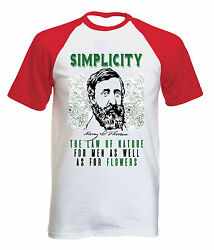 HENRY DAVID THOREAU SIMPLICITY QUOTE - NEW COTTON BASEBALL TSHIRT ALL SIZES $20.86
