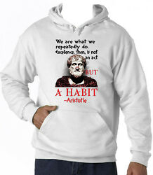 ARISTOTLE WE ARE QUOTE - NEW COTTON WHITE HOODIE