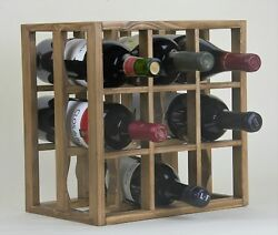 Victoria Wine Rack 9 Bottles Solid Wood Antique Stain/lacquered Countertop