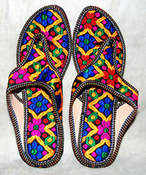 Indian Multicolor Floral Ethnic Partywear Casual Slipper Shoes For Womens Girls