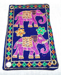 Indian Double Elephant And Embroidered Work Mobile And Money Womens Handbags