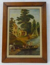 Antique Folk Art Painting Of The Perry Inn Signed Boyle And Dated 1888