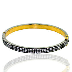 Trendy 2.85ct Diamond 14k Gold 925 Sterling Silver Bangle Pave Jewelry For Her