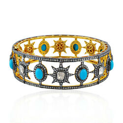 Antique Turquoise Gemstone Diamond Bangle 18k Gold Sterling Silver Jewelry