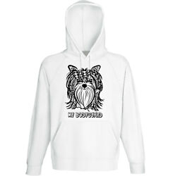 Yorkshire terrier my bodyguard - NEW COTTON WHITE HOODIE