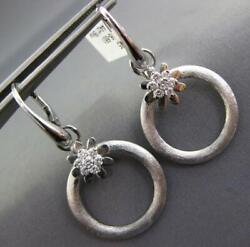 .44ct Diamond 18kt White Gold 3d Matte And Shiny Flower Circular Hanging Earrings