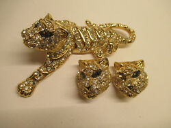 Vintage Signed Trifari Jeweled Tiger Pin Broach Clip Earrings Set