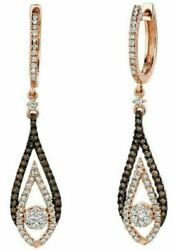 .78ct White And Chocolate Fancy Diamond 14k Rose Gold Tear Drop Hanging Earrings
