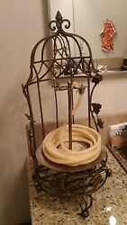 METAL COIL ROPE CANDLE HOLDER in a Half BIRD CAGE