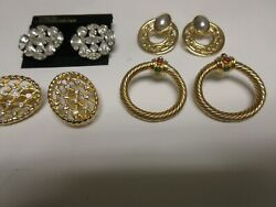 Costume Jewelry ,vintage , Earrings , Joan's Collectibles , Lot Of 4 , Unique