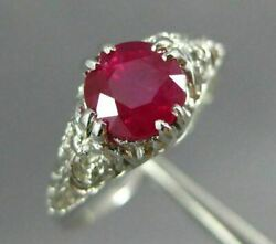 Antique 1.0ct Aaa Ruby Platinum Classic Round Solitaire Filigree Engagement Ring