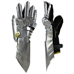 Pair Gloves Gauntlets Medieval Knight Stainless Steel Armor Larp Faire Gothic