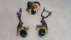New Beautiful Set Of Sterling Silver Malachite With Multi Gems Earrings And Ring