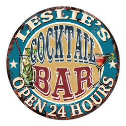 Cpco-0208 Leslie's Cocktail Bar Tin Sign Valentine Father's Day Christmas Gift