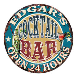 Cpco-0209 Edgar's Cocktail Bar Tin Sign Valentine Father's Day Christmas Gift