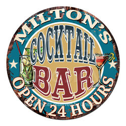 Cpco-0210 Milton's Cocktail Bar Tin Sign Valentine Father's Day Christmas Gift