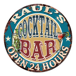 Cpco-0211 Raul's Cocktail Bar Tin Sign Valentine Father's Day Christmas Gift