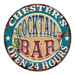 Cpco-0213 Chester's Cocktail Bar Tin Sign Valentine Father's Day Christmas Gift