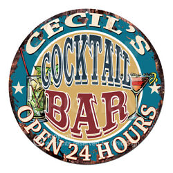 Cpco-0214 Cecil's Cocktail Bar Tin Sign Valentine Father's Day Christmas Gift