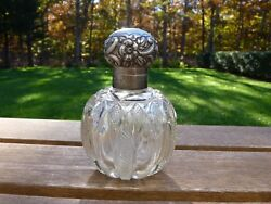 Floral Repousse Silver Crystal Cut Scent Bottle 1898 Made In London