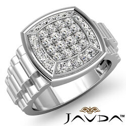 1.00ct. Rolex Style Hip Hop Mens Cluster Diamond Gold Micro Pave Setting Ring