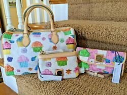 Dooney And Bourke Cupcakes 🧁 Barrel Satchel 🧁 W/ Wristlet And Continental Wallet