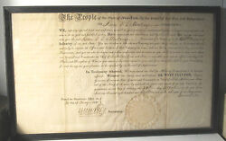 Dewitt Clinton Signed1818 Ny State Military Appointment - Isaac De La Montanye