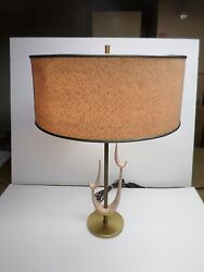 Vintage Retro Metal/ceramic Table Lamp With Shade