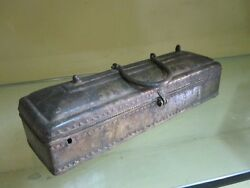 An Old Or Antique Solid Brass Pen / Pencil Box With Ink-pot Inside
