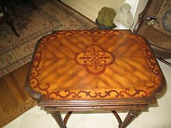 Dark Antique Lido Finished Maitland Smith Inlay End Occasional Table Drawer New