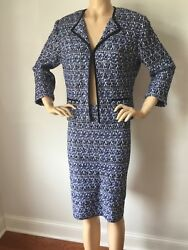 Nwt St John Knit Blue Tweed Skirt And Jacket Suit Size 10