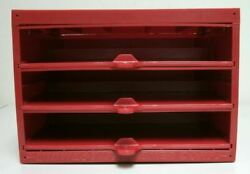 Midwest Fastener Hardware Storage Drawers 3 Tier Pull Out Shelves Red