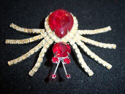VINTAGE HUGE RUBY RED CRYSTAL RHINESTONE SPIDER FIGURAL BROOCH PIN