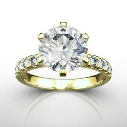 Diamond Round Ring Colorless 1.62 Ct 18 Karat Yellow Gold Vs2 D Engagement Real