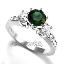 14k White Gold Russian Chrome Diopside Diamond Engagement Ring R1666