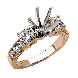 14k Solid Rose Gold 1.20 Cwt Diamond Engagement Ring Setting R1836