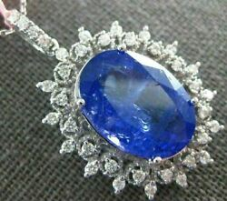 Estate Extra Large 11.78ct Diamond And Tanzanite 18kt White Gold 3d Flower Pendant